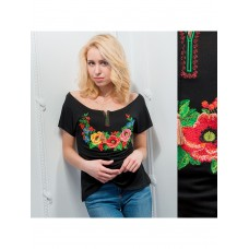 Original black T-shirt with embroidered colorful flowers