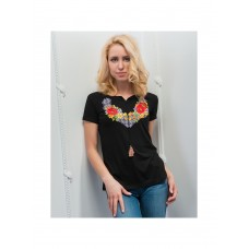 Excellent women's black T-shirt with national embroidery