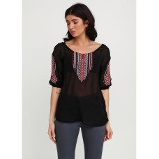 Transparent chiffon blouse-embroidered shirt in black with geometric patterns for women (NB-1031-blk)
