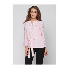 Pink blouse embroidered with white threads (M-211-15)
