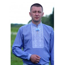 Blue shirt for men with traditional Ukrainian ornament (GNM-01972)