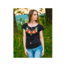 Modern Women's Black T-shirt with Wildflowers Embroidery (10101011-046)