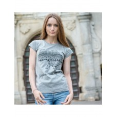 Stylish T-shirt for women with a print of the outline of the map