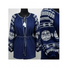 Elongated blue embroidered shirt made of linen or gabardine with contrasting patterns for women (GNM-01754)