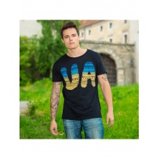 Bright black T-shirt for men with a yellow-blue print