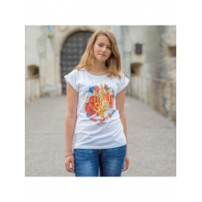 Bright T-shirt for women with a national print