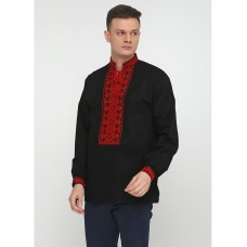 Bright black embroidered shirt for men with geometric red ornament in Vinnytsia style (chsv-02-01)