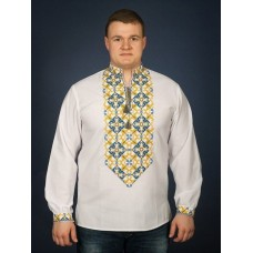 A conspicuous shirt-vyshyvanka with a patriotic blue-yellow ornament for men (chsv-22-05)