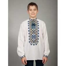 A noticeable Ukrainian embroidered shirt with a blue-green national ornament for men (chsv-40-04)